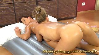 Nuru massage in lesbian action