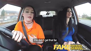 Fake Driving School Busty lesbian ex-con eats hot examiners