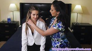 Lesbian cougar spanks teen while scissoring
