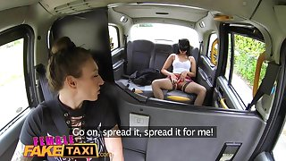 Female Fake Taxi Masked horny minx in slutty fishnets cheats