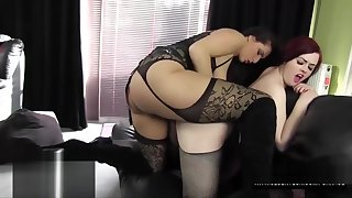 Redhead lesbian slut big ass riding Paige Turnah big strapon in fishnets