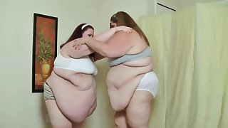 SSBBW Babes Sumo Smash Their BBW Bellies Into Each Other For Fat Slapping