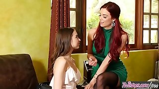 Step mom (Jayden Cole) Teaches (Riley Reid) how to lick pussy right - Twistys