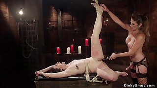 Plighted upstairs knees slave rump whipped lezdom
