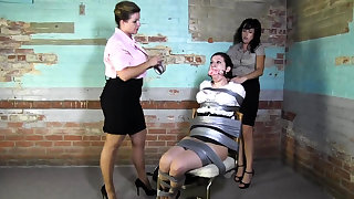 Lesbian BDSM Chained coupled with Electro Tortured MILF Slave