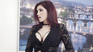 Horny busty Romanian sexpot Amina Danger seduces a bit plump blondie be expeditious for sex
