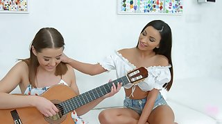Romanian babe Alyssia Kent is teaching GF hot yon play make an issue of guitar with the addition of lick pussy