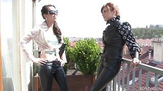 BDSM leather fetish with foxy Ferrara Gomez and Marina Visconti