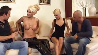Two Arousing Blonde Europeans Fucked Thither Foursome