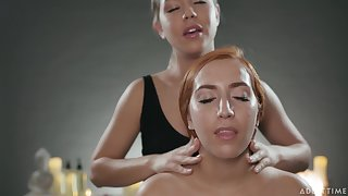 Oiled Alina Lopez gets a nice apropos massage and enjoys having lesbo sex