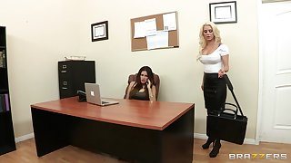 Sensual lesbian sexual congress on the table - Spencer Scott & Vanessa Veracruz
