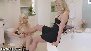 Jessa Rhodes and Charlotte Stokely are making love in get under one's bathtub