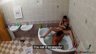 Lesbians Wash On all occasions Other's Wet Pussies To The Bathtub