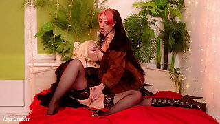 Two kinky MILFs with regard to furs and stockings bringing off roleplay merriment